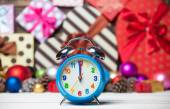 Clock and Christmas toys. — Stock Photo