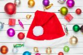 Candys and Santa's hat — Stock Photo
