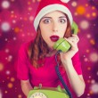 Redhead girl calling to Santa. — Stock Photo #58220971
