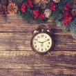 Vintage alarm clock with branch of pine — Stock Photo #58869499