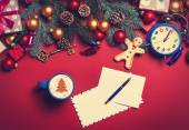 Cappuccino and letter with christmas gifts — Stock Photo