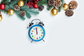 Alalrm clock and branch with toys on a white background. — Stock Photo
