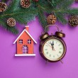 Alarm clock and toy house with pine branch — Stock Photo #59049879