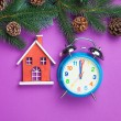Alarm clock and toy house with pine branch — Stock Photo #59049929