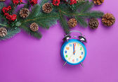 Alarm clock with pine branch on violet background. — Stock Photo