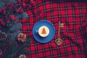 Cappuccino and pine branch  with key on tartan background — Foto Stock
