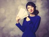 Women in blue dress with envelopes — Stock Photo
