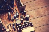 Microchips in old circuit board printed circuit board. — Stock Photo