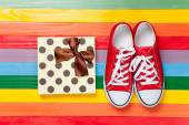 Gumshoes with white shoelaces — Stock Photo