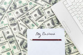 Pencil and paper with My Business words — Stockfoto