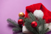 Santas hat and branch with toys — Stock Photo