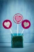 Heart lollipop in pot — Foto de Stock