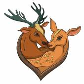 Deers falling in love. Illustration with simple gradients. — Stock Vector
