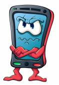 Cute cartoon smartphone angry — Stock Vector