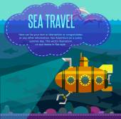 Sea travel. Vector illustration in style flat. — Stock Vector