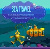 Sea travel. Vector illustration in style flat. — Stock Vector