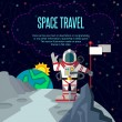 Space travel. Vector illustration in style flat — Stock Vector #78864568
