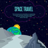 Space travel. Vector illustration in style flat — Stock Vector