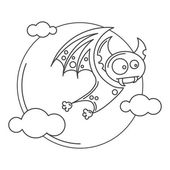 Dracula de vampire pour Halloween. Icône de vecteur dans le style plat — Vecteur