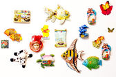 Decorative toys on magnets — Stock Photo
