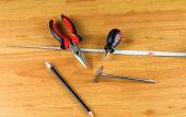 Pliers, screwdriver, hammer, measuring tape and pencil — Zdjęcie stockowe