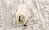 Fluorescent lamp and lamp incandescence  — Stock Photo