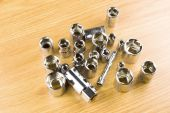 Set of different nozzle to tighten the bolts  — Stock Photo