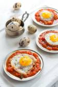 Omelette of quail eggs with tomato sauce — Stock Photo