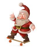 Santa Claus on skateboard — Stock Photo