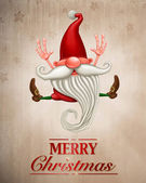 Happy Christmas elf Greeting card — Stock Photo