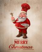 Santa Claus pastry cook greeting card — Stock Photo