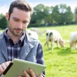 Young attractive farmer using tablet in a field — Stock Photo #57598883