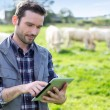 Young attractive farmer using tablet in a field — Stock Photo #59217267