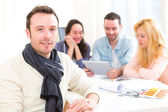 Portrait of an architect student during meeting — Stock Photo