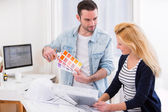 Two attractives architect working at the office — Stock Photo