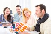 Architect students choosing colors for their project — Stock Photo