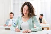 Young attractive student during lessons at school — Stock Photo