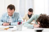 Young student burned out during classes — Stock Photo