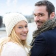 Portrait of a young couple on holidays in the city — Stock Photo #68099201