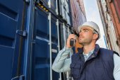Young attractive docker checking security system — Stock Photo