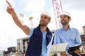 Worker and architect watching some details on a construction — Stock Photo