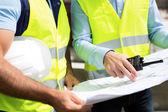Details of blueprints on a construction site — Stock Photo