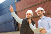 Worker shows to supervisor security system setting up — Stock Photo
