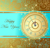Happy New Year background with clock — Stock Vector