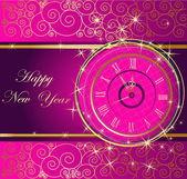 Gott nytt år bakgrund med klocka — Stockvektor