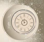 Bonne année fond avec horloge — Vecteur