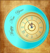 Vintage Happy New Year background with clock — Stock Vector