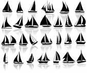 Set  of yachts — Stock vektor