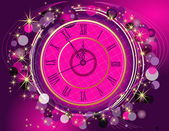 Clock with Happy New Year background — Stockvektor