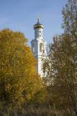 The bell tower of St. George monastery, the Golden autumn. Veliky Novgorod — Stock Photo